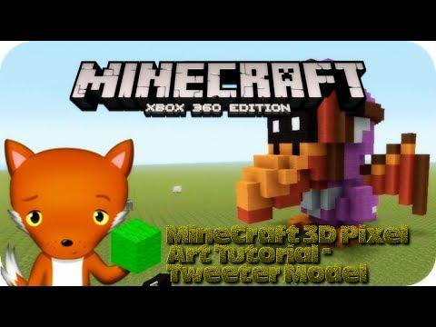 MineCraft 3D Pixel Art Tutorial  - Tweeter Model From Mario