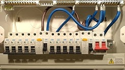 A look inside a British home electrical panel.