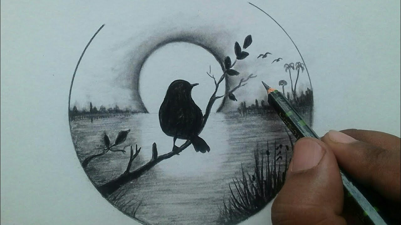 Easy Nature Scenery Drawing Step By Step Pencil Drawing For Beginners Youtube