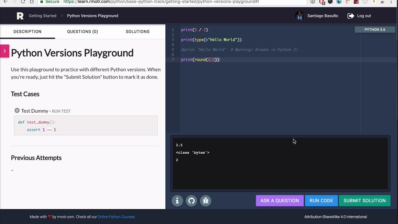 Python Versions Lesson - Base Python Track
