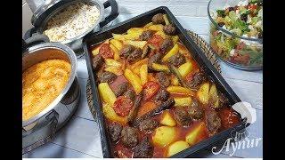 1 Saatte Iftar Menüsü I Firinda patatesli köfte I Terbiyeli sehriye corbasi I Nohutlu pilav I Salata