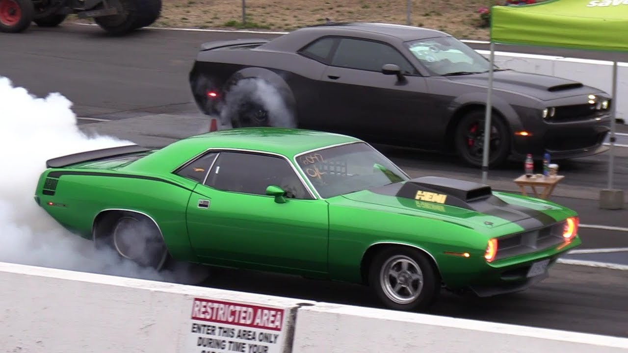 Old vs New Muscle Cars Drag Racing - Demon,Cuda,Shelby,ZL1,Hellcat ...