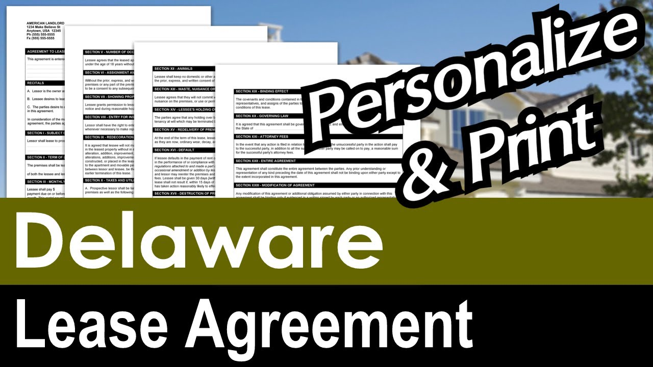Delaware Lease Agreement For Rental Property Youtube