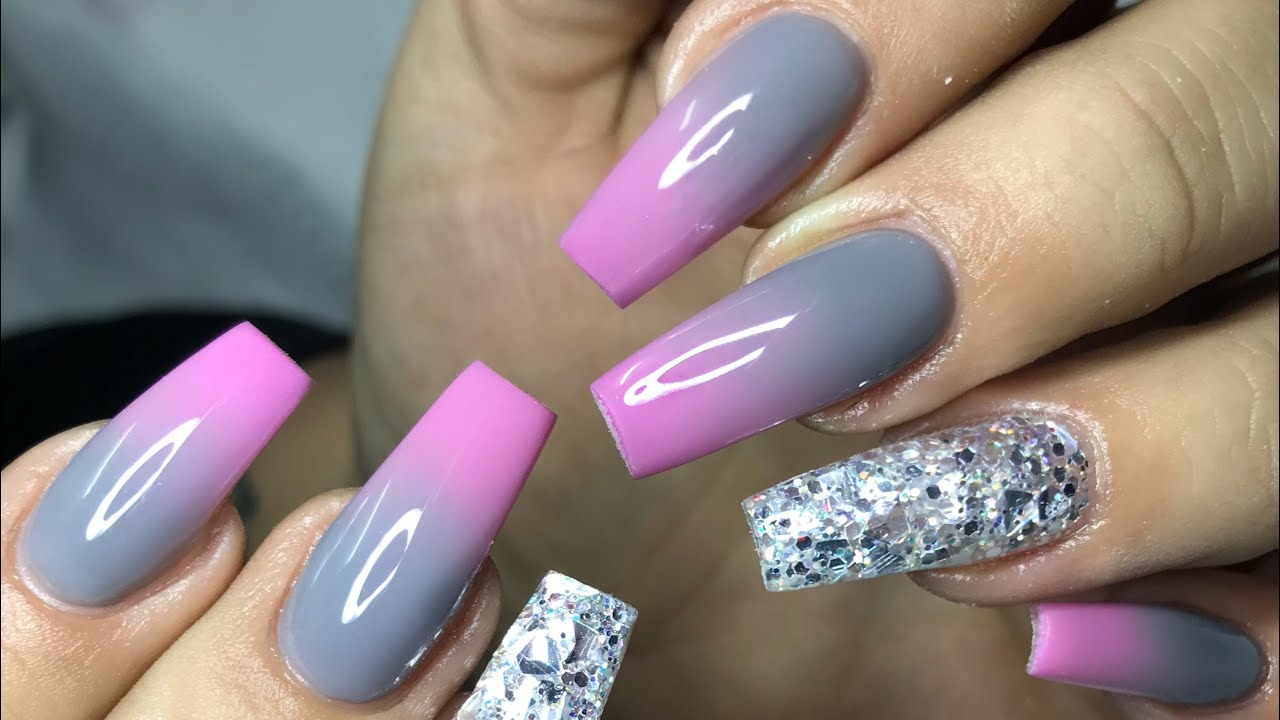 gorgeous pink & grey ombr acrylic
