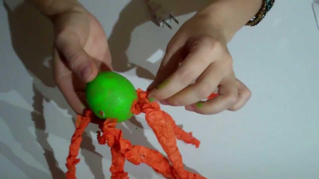 Manualidades con reciclado cascara de huevo animal pulpo - Manualidades con hueveras ...