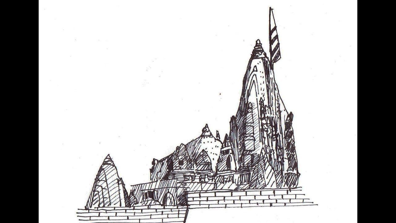 How to draw somnath temple step by step gujarat