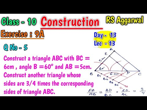 Download Draw a triangle abc with bc=6 cm ab=5 cm | Rs Aggarwal Class 10 Exercise 9A Question 5