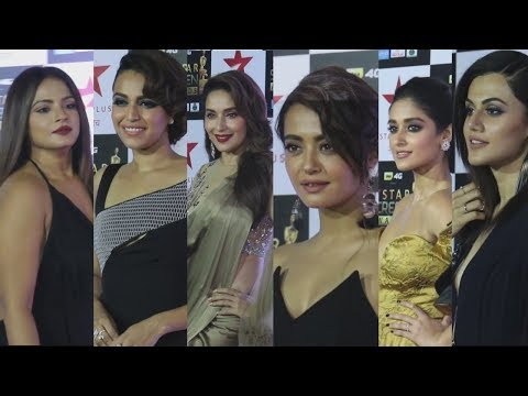 Bollywood Hot Babes Showing Assets at The Red Carpet of Star Screen Awards - Full Video