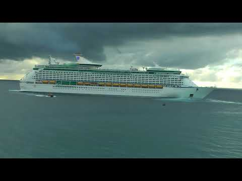 Royal Caribbean Adventure of the Seas turning around in the Atlantic to leave Barbados