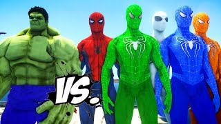 THE HULK VS SPIDERMAN ARMY - SPIDER-MAN, GREEN SPIDERMAN, BLUE SPIDERMAN, ORANGE SPIDERMAN VS HULK