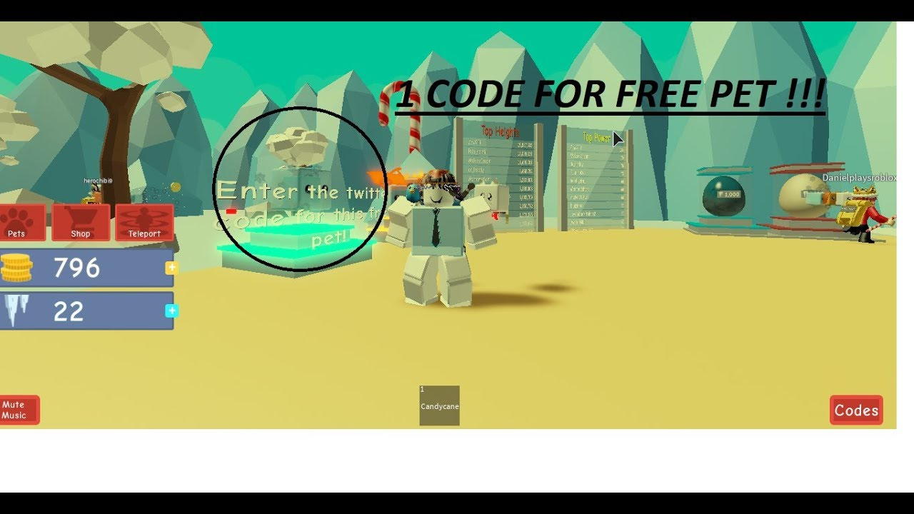 All Codes In Grow A Candy Cane Simulator Roblox 2019 1 Code For Free Pet Grow A Candy Cane Simulator Youtube