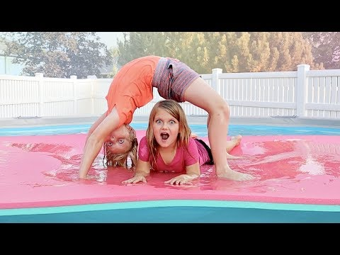 Family Gymnastic Challenge in our POOL! thumbnail