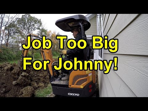 The Big Dig, Case CX17C Mini-Excavator Digs Footer for DIY Patio, Job Too Big for JD 1025R