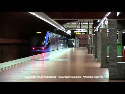 SL Tunnelbana tåg /  Metro trains at Skarpnäck station, Stockholm, Sweden