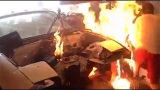 Chevy 350 miata drift car fire