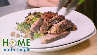 A Romantic Dinner for Two: Skillet Seared Steak   Home Made Simple   Oprah Winfrey Network
