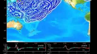 Japan Sendai Earthquake And Tsunami Visualization of Pacific Ocean, 11/03/2011