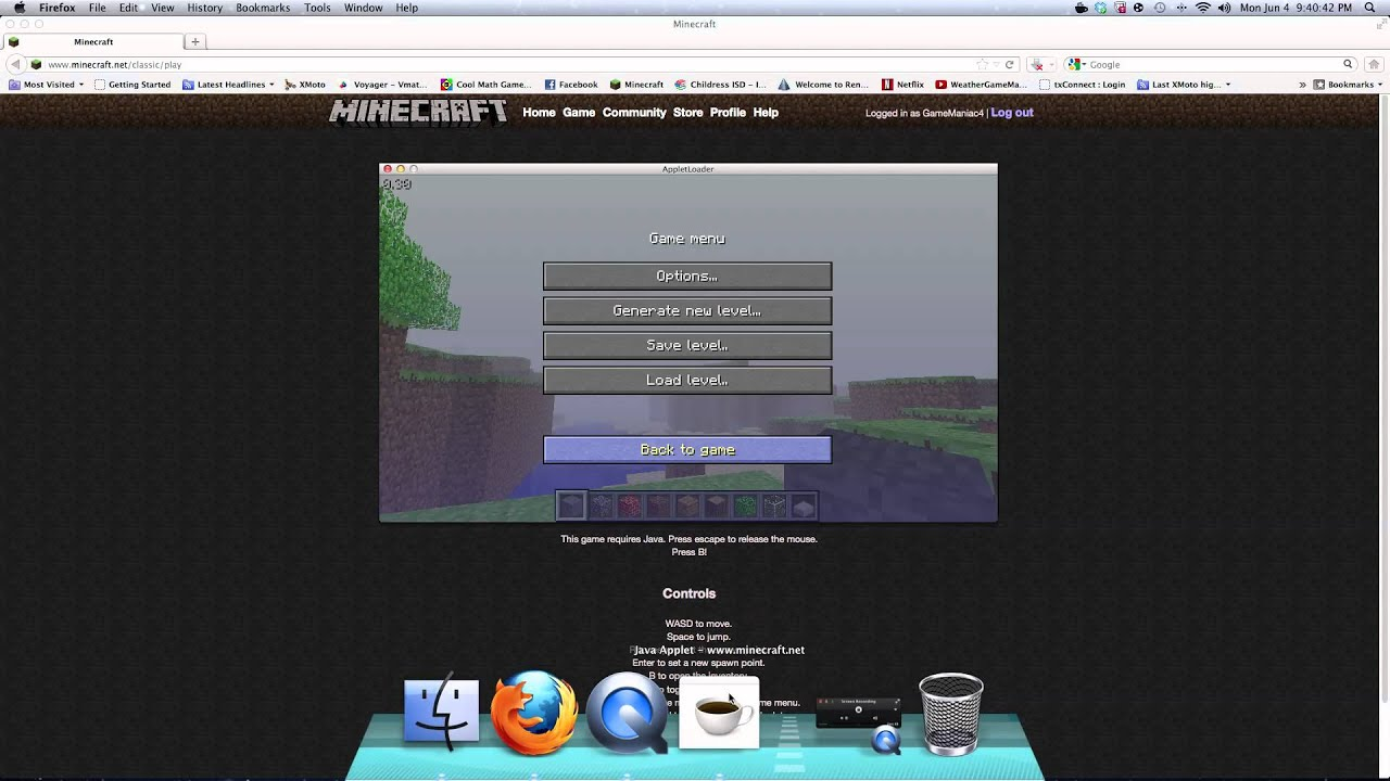 how to play classic minecraft on mac