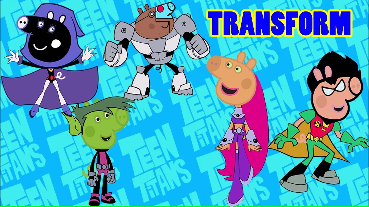Peppa Pig Transforms into Teen Titans Go! Coloring Video for Kids ...