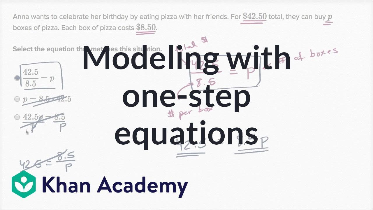 medium resolution of Modeling with one-step equations (video)   Khan Academy