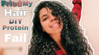 I Fried My Hair | Fail DIY Protein On Curly Hair | Girl Fails