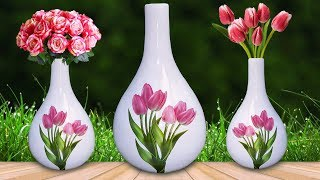 Flower vase with  Paper // How to make flower Pot with newspaper