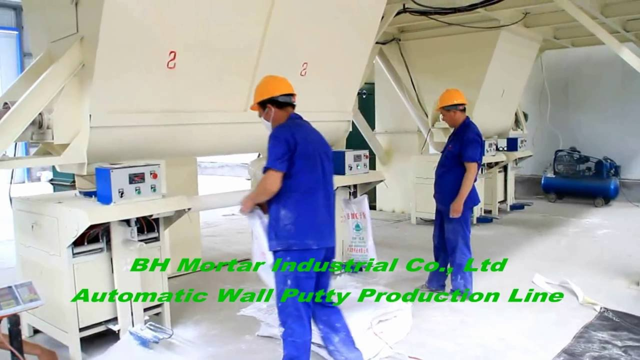 20TPH Wall putty Production Line Packing Machine Dry Mortar Plant Working