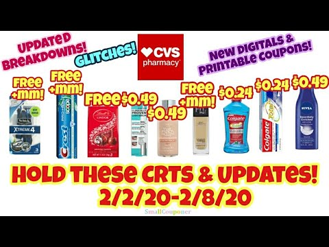 CVS Glitches, Hold These CRTs and Updates 2/2/20-2/8/20! All Digital and Printable Coupon Deals!