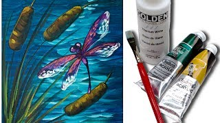Dragonfly Pond Easy Beginner Acrylic Painting Tutorial 🍃💜🎨