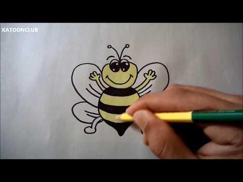 ผึ้ง สอนวาดรูปการ์ตูนน่ารักง่ายๆ ระบายสี How to Draw a Cartoon Bee for Kids Step by Step