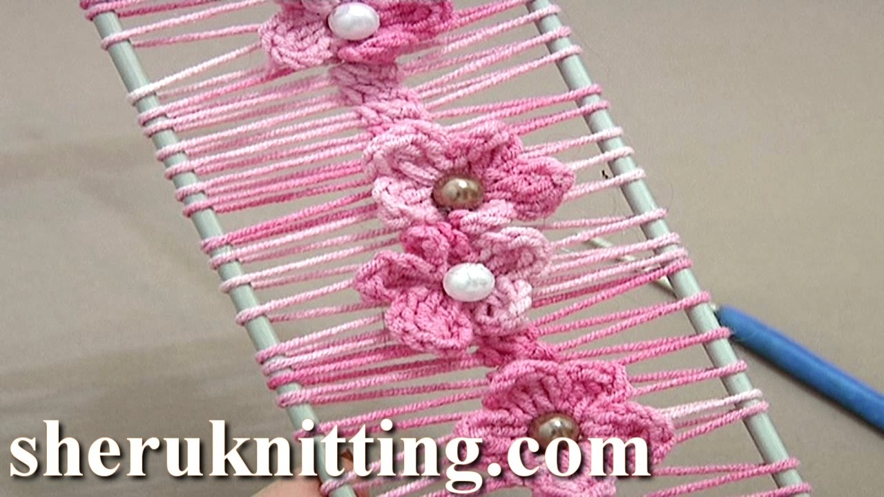 Floral crochet hairpin lace strip tutorial 19 crochet flowers on floral crochet hairpin lace strip tutorial 19 crochet flowers on hairpin loom youtube bankloansurffo Image collections