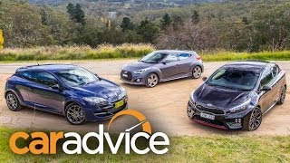 Sporty hatch comparison Kia Procee d GT v Hyundai Veloster SR Turbo v Renault Megane RS265 Sport