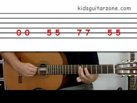 Guitar lesson 2B : Beginner -- 'Wild thing' on one string