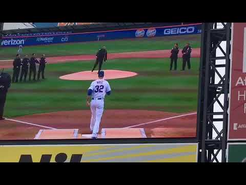 Bergen-based, three-year PAPD Officer Anthony Estevez throws out first pitch at Mets' Opening Day at Citifield.