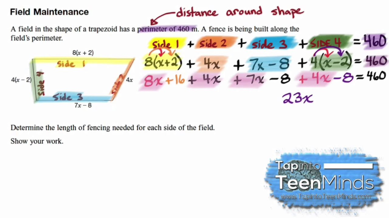 Finding Side Lengths Of A Figure Given The Perimeter  Measurement And  Algebra
