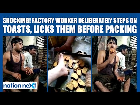 SHOCKING! Factory worker steps on toasts, licks them before packing | Rusk Factory Viral Video