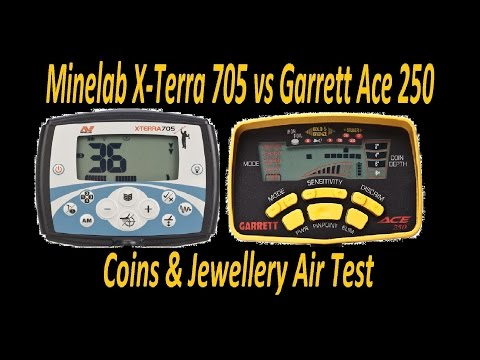 Minelab X-Terra 705 Vs Garrett Ace 250 Air Test Detector Comparison