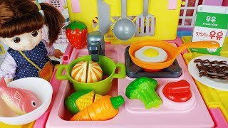 Baby doll food cart and Kitchen cooking toys story play - ToyMong TV 토이몽
