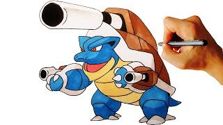 How to draw Mega Blastoise from Pokemon X Y 6 Gen easy step by step drawing