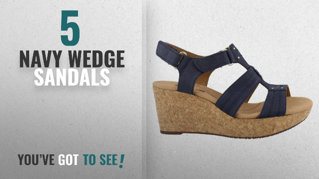 b7ffbc9fdc1 Top 5 Navy Wedge Sandals [2018]: Clarks Women's Annadel Orchid Wedge  Sandal, Navy, 10 M US