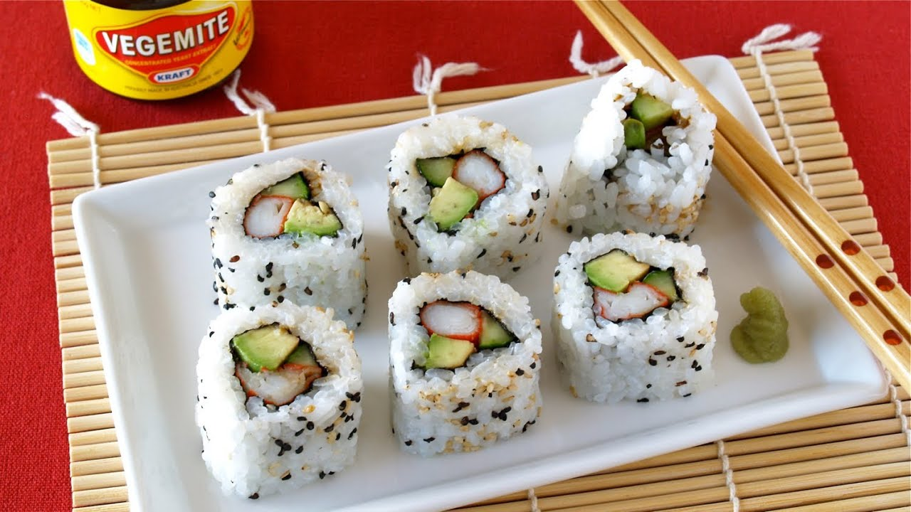 How to Make Beauty VEGEMITE Sushi Rolls (California Roll Recipe ...