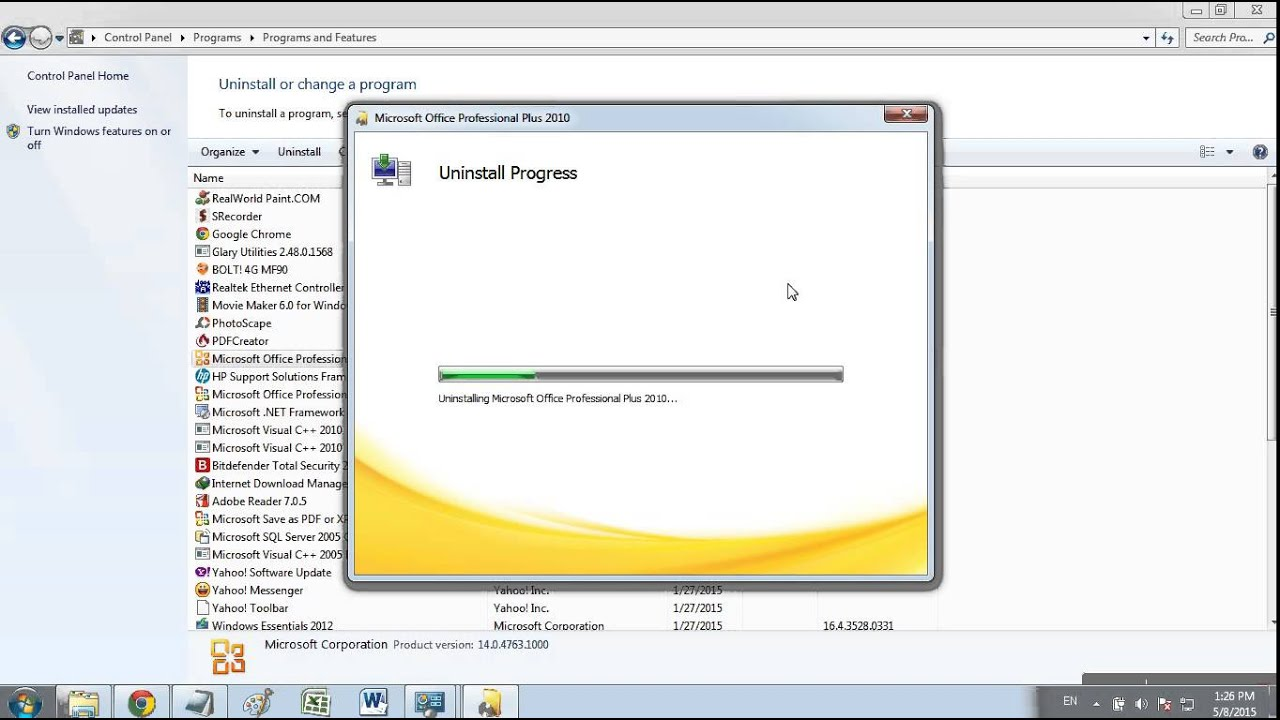 Cara uninstall Microsoft Office 2010 di windows 7 - YouTube