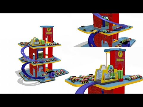 Thumbnail: Parking garage play set for children - car wash - playland - cars for kids - toys for children