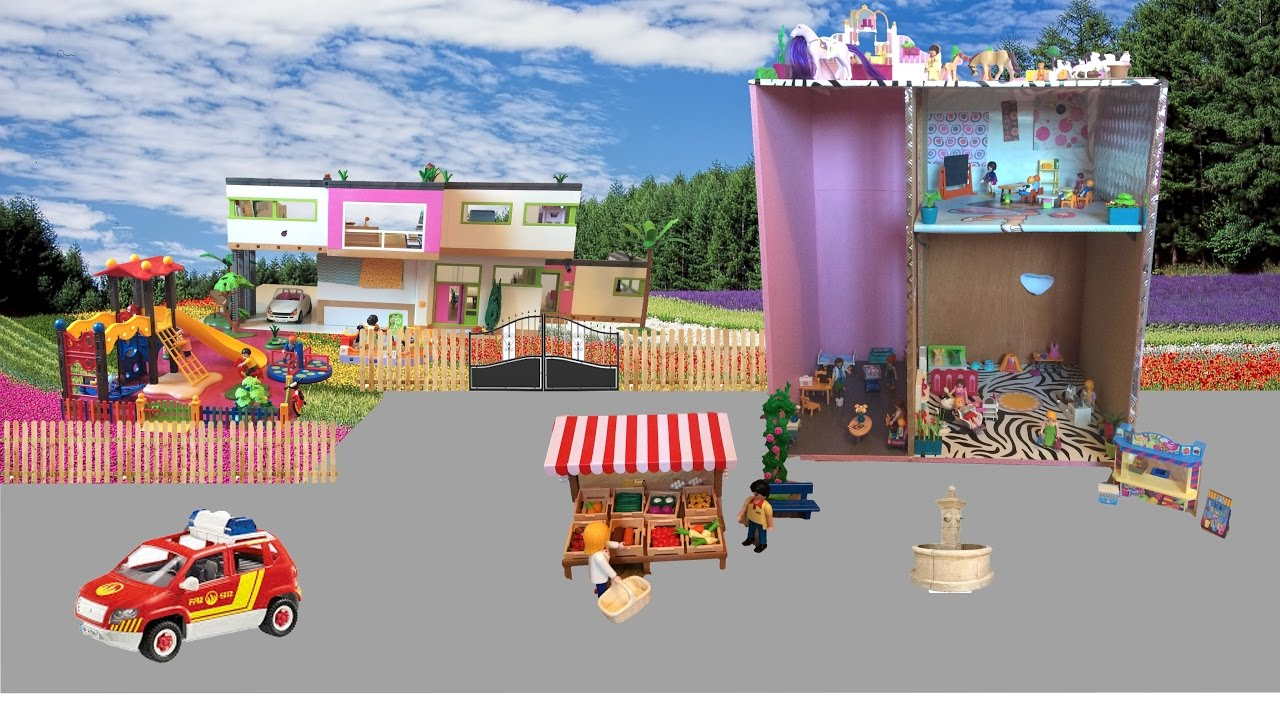 Ma ville playmobil square coiffeur magasin docteur for Piscine de playmobil