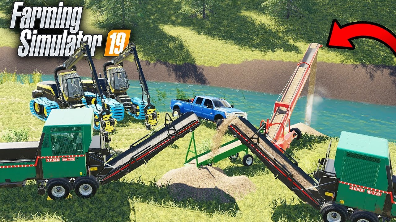 FS19- BRIDGE BUILDING WITH CONVEYOR BELT SYSTEM TO MOVE WOODCHIPS! (BEST  IDEA YET)