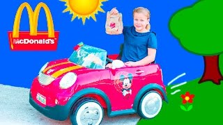 Food Drive Thru Delivery Assistant Delivers Meals to Mickey Mouse