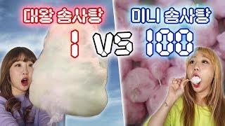 대왕솜사탕 1개 vs 미니 솜사탕 100개 만들기..! 과연 성공 할 수 있을까?! [예씨 yessii]