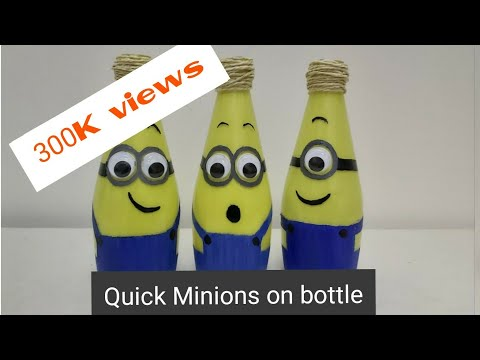 Quick and Simple kid's room decor. Minions on glass bottle.step by step tutorial.