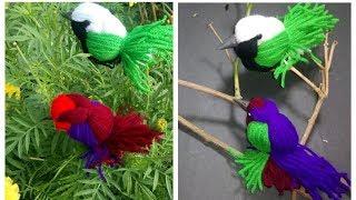 DIY: Make Woolen Birds Wall Hanging for Home Decoration Idea    just craft idea   Woollen Birds !
