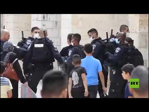 اقتحام القوات الاسرائيلية لباحات المسجد الأقصى لتفريق الوقفة الاحتجاجية